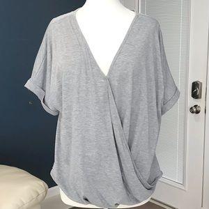 Wrap front short sleeve knit top blouse XL NWOT